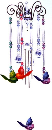 Wind Chime Butterfly Dance, Chandelier Mobile Style, 3 Acrylic Prisms Creates a Sparkling Colorful Effect in Bright Sunlight, Indoor - Outdoor Decor 20 Inches