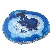 メノウスライス(特大) コースター ブルーI (お好きな模様が選べます)【天然石】