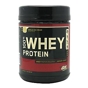Optimum Nutrition 100% Whey Protein, Vanilla Ice Cream, 1 Pound (Pack of 2)