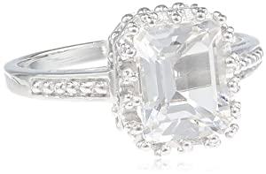Sterling Silver 9x7 White Topaz Emerald Cut Ring, Size 7