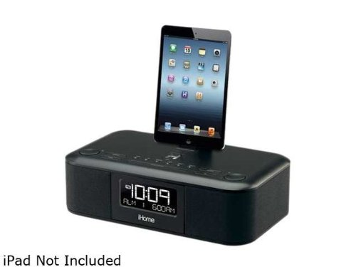 ihome id95bzc app enhanced dual alarm stereo clock radio for ipad iphone ipod with fm presets black. Black Bedroom Furniture Sets. Home Design Ideas