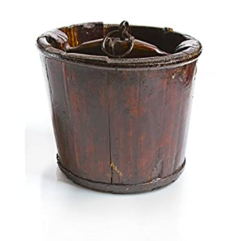 "Vintage Chinese Wooden Pail, Brown, 10.5""diax9""H"