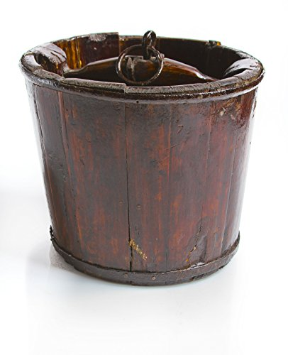 """Vintage Chinese Wooden Pail, Brown, 10.5""""diax9""""H 0"""