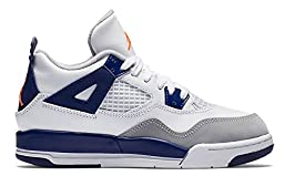 Nike Jordan Kids Jordan 4 Retro GP White/Hypr Orng/Dp Ryl Bl/Wlf Basketball Shoe 1 Kids US