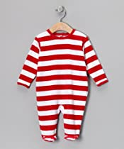 "Leveret ""Velour Striped Coverall Rompers"" Footed One Piece (Size 3-18 Months) (6 Months, Red & White)"