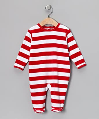 Leveret (E) Velour Red & White Romper (9 Months)