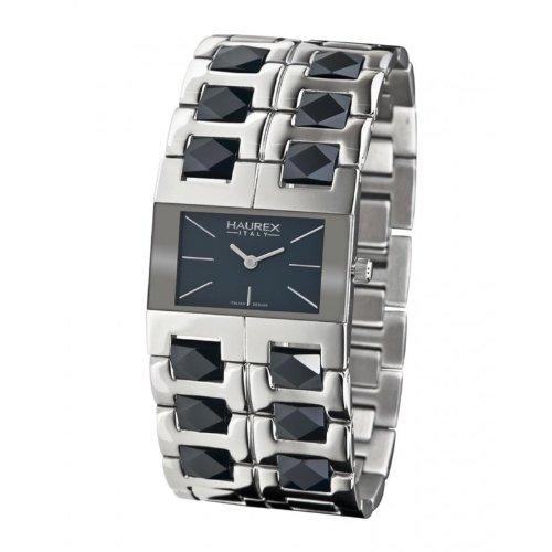 Haurex Italy XA327DB1 - Reloj de mujer de cuarzo, correa de acero inoxidable color plata, dial del reloj negro