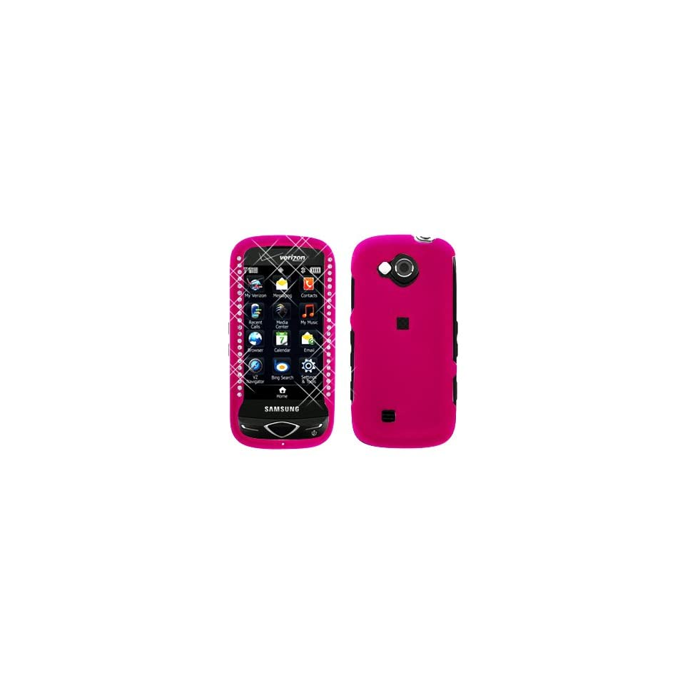 Premium   Samsung U820/Reality Diamond Rubber Rose Pink Cover   Faceplate   Case   Snap On   Perfect Fit Guaranteed