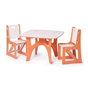 Kids Table and 2 Chairs, Orange and White