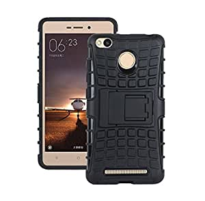 Xiaomi Redmi 3s Prime Back Cover Armor Hybrid Heavy Duty Tough Rugged Dual Layer Case Cover with Built-in Kickstand for Xiaomi Redmi 3s Prime + Free Earphone Cable Organiser