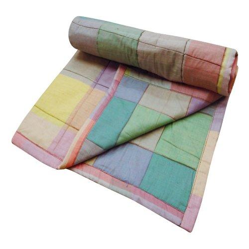 Patrón de la decoración casera del bebé del algodón del edredón tela escocesa verde Reverssible malaspread nacimiento de tamaño hecho a mano indio Gudri 32 X 30 pulgadas;