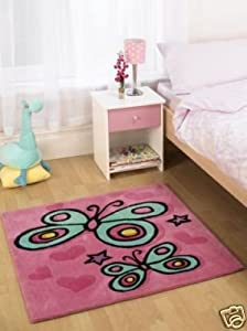 Childrens Rug Pink Butterfly for Girls 90x90cms square - *UK Only* - due to size/weight restrictions. *Not Eire*. from Rugs with Flair