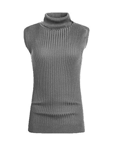 V28 Women's Sleeveless Ribbed Mock Neck Turtleneck Stretchable Knit Sweater Top (M(8-10), Dark Grey)