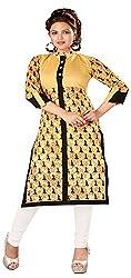 INDIAN FASHION LADY Women's Cotton Kurtas (Ifl-81 , Gold)