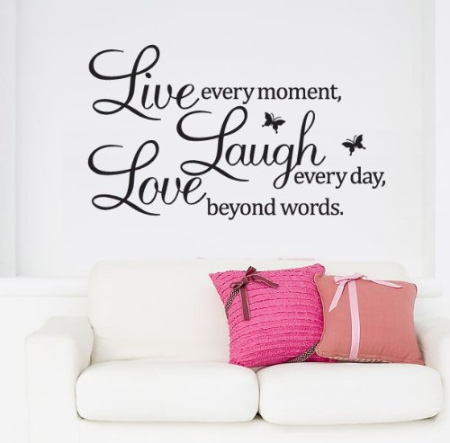 Moda Seya Live Every Moment,Laugh Every Day,Love Beyond Words Quote Wall Vinyl Sticker New Wall Decor Art Removable Mural Decal Letting Quotes Life (50X70Cm, Black) front-1027824