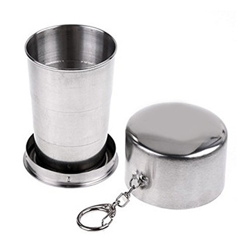 Fashion & Cheap Outdoor 3 Sections Mini-Stainless Steel Cup Retractable Cup Portable & Foldable Cup Perfect for Camping Hiking Picnic Fishing Travel AL7096