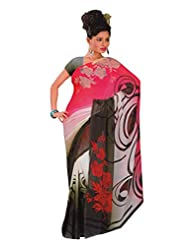 1st Home Multi Color Georgette Printed Saree - B0138DHC0G