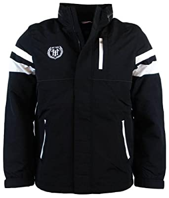 Tommy Hilfiger Mens Nylon Yacht Jacket Windbreaker - S - Black/White