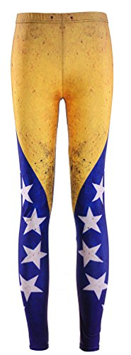 Sister Amy Women's High Waist Nation Flag Printed Ankle Elastic Tights Legging Venezuela