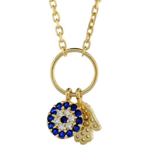 Sterling Silver (Gold Plated) 16 in. Cable Link Chain Necklace w/ Jeweled Evil Eye & Hamsa Charm Pendant