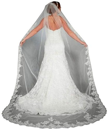 WAJY Lace Edge Cathedral Length Long Bridal Wedding Bridal Veil+Comb White