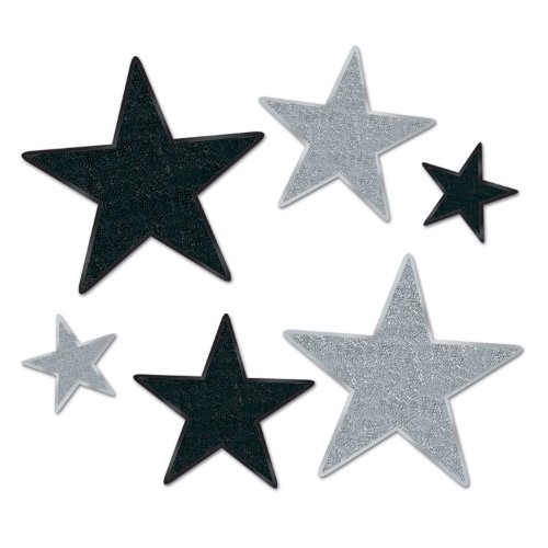 Beistle 57857-BKS 6 Count Assorted Glittered Star Cutout, Black and Silver