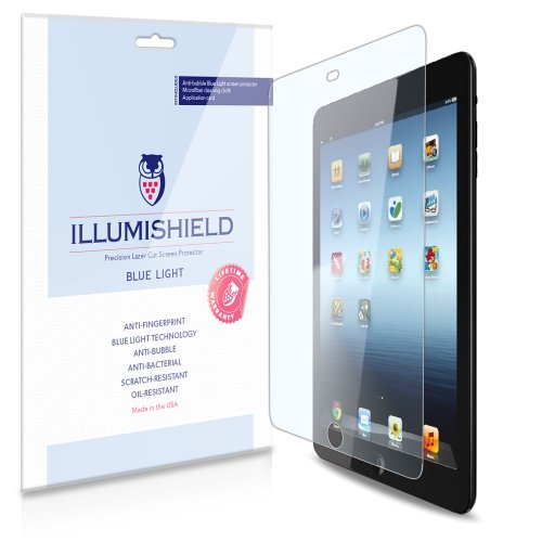 Illumishield - Apple Ipad Mini 2 W Retina Display (Hd) Blue Light Uv Filter Screen Protector Premium High Definition Clear Film / Reduces Eye Fatigue And Eye Strain - Anti- Fingerprint / Anti-Bubble / Anti-Bacterial Shield - Comes With Free Lifetime Repla