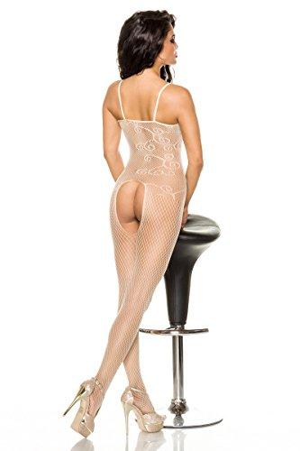 Elastischer Bodystocking mit schönem Muster in Beige, One-Size
