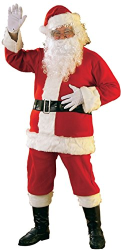 Rubie's Bright Red Flannel Santa Suit With Gloves, Red/White, Standard