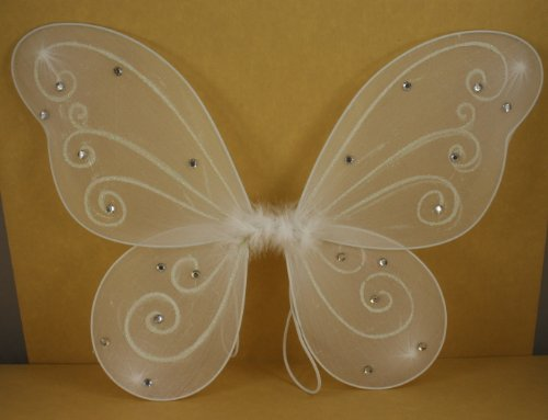 "White Butterfly Fairy Costume Wings 18"" X 14"""