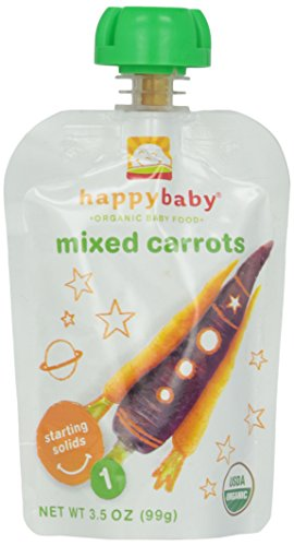 Happy Family Brands Organic Baby Food Mixed Carrots Stage 1 (Starting Solids) 3.5 Oz. Pouches (A)