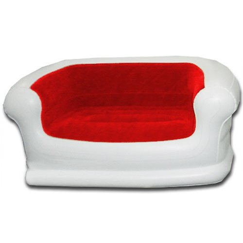 Smart Air Beds Rave Inflatable Love Seat Sofa White W Micro Flock Red