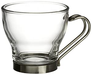 Bormioli Rocco Verdi  Espresso Cup With Stainless Steel Handle, Set of 4, Gift Boxed