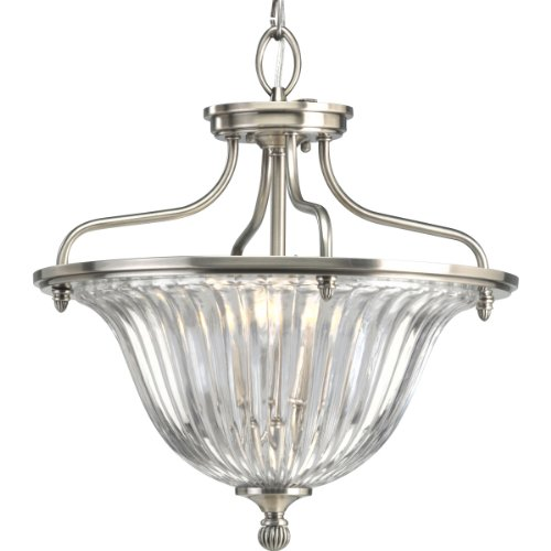 Progress Lighting P2817-101 3-Light Roxbury Close-To-Ceiling Semi-Flush Fixture, Classic Silver