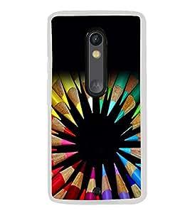 Colourful Pencils 2D Hard Polycarbonate Designer Back Case Cover for Motorola Moto X Play