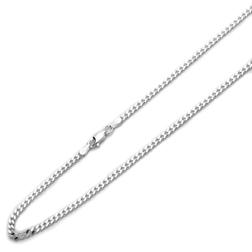 Sterling Silver 3mm Italian Solid Curb Link Chain Necklace, 18""
