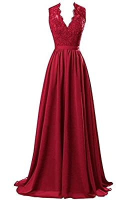 R&J Women's Modest V Neck Open Back Chiffon Long Evening Gown with Lace