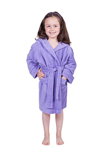 Kids' Hooded Terry Cloth Bathrobe (Violet Tulip, Medium) Kb0101-Vtp-M