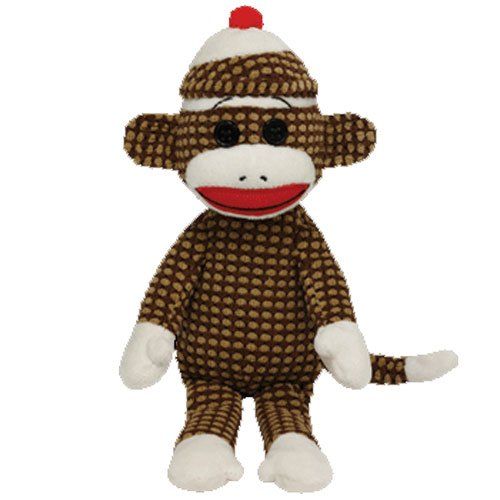 Ty Beanie Babies Sock Monkey Brown Quilted Plush - 1