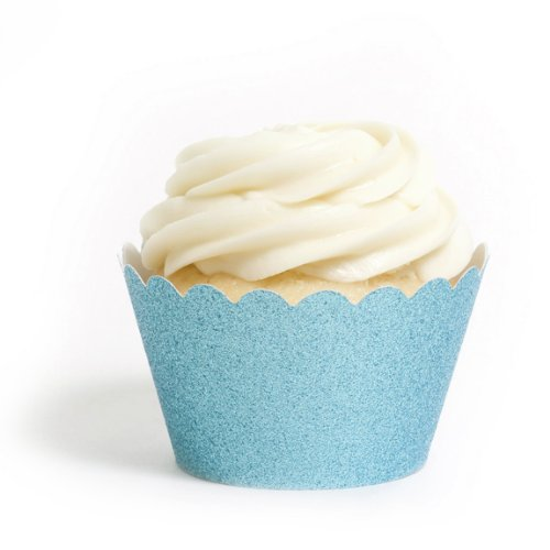 Dress My Cupcake Standard Sky Blue Reusable Glitter Cupcake Wrappers, Set Of 12 front-1069235