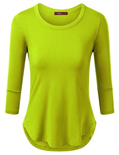 Doublju Womens 3/4 Sleeve Round Neck Slim Fit Curved Hem T-Shirt LIGHTGREEN LARGE