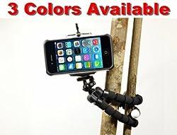 Flexible iPhone Tripod 6s 6s Plus 6 6 Plus 5s 5c 5 4s 4 Galaxy S6 S5 S4 S3 S2 Webcam Selfie Photo Video Lightweight Mini Bendable (Better than Joby Gorilla Tripod) by DaVoice (Black)
