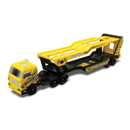 Speed Warriors Auto Transporter * On the Road Series * Maisto Highway Haulers 2010 Fresh Metal Die-Cast Tractor Trailer / Semi Truck Vehicle Collection - 1