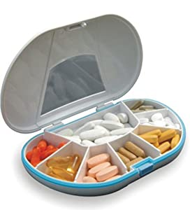 Gasketed VitaCarry 8 Compartment Pill Box Holds Up To 150 Pills Waterproof Color White