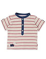 Autograph Pure Cotton Grandad Collar Striped T-Shirt