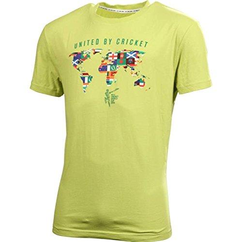 Cricket ICC CWC 2015 Round Neck United By Cricket T-Shirt, Men's (Citron) (Multicolor)