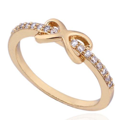 C-Princessリング 指輪 18Kゴールド仕上げ 表面メッキ コーティング ラインストーン レディース 女性 アクセサリー ジュエリー ウェディング エンゲージリング 独特 数字8モチーフ (16)