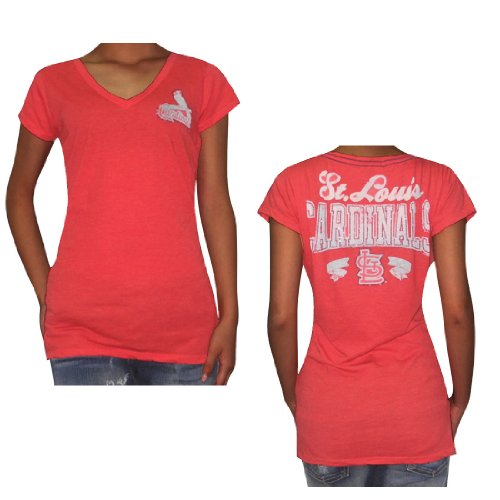 MLB St. Louis Cardinals Womens Tee with Rhinestones (Vintage Look) Small Red at Amazon.com