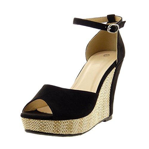 Sopily - Scarpe da Moda sandali alla caviglia donna fibbia corda Tacco zeppa 11 CM - Nero FRF-15-BL188 T 38
