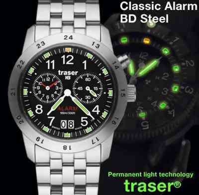 Traser Classic Alarm Watch Big Date Steel SWISS